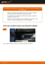 Como mudar pastilhas de travão da parte traseira em VW Polo 9N - guia de substituição