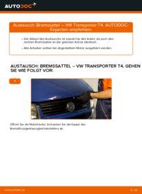 Wie der Wechsel durchführt wird: Bremssattel VW T4 Transporter 2.5 TDI 2.4 D 1.9 TD tauschen