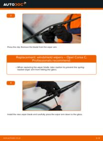 How to carry out replacement: Wiper Blades on 1.2 (F08, F68) Opel Corsa C