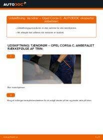 Hvordan man udfører udskiftning af: Tændrør på 1.2 (F08, F68) Opel Corsa C