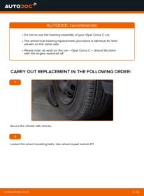 How to carry out replacement: Wheel Bearing on 1.2 (F08, F68) Opel Corsa C