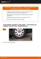 Kuidas vahetada VW Passat B5 Variant bensiin taga-amordi tugilaager – õpetus