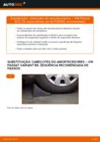 Como mudar cabeçotes do amortecedores da parte dianteira em VW Passat 3C B6 Variant - guia de substituição