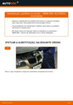 Como mudar pastilhas de travão da parte traseira em BMW E90 gasolina - guia de substituição