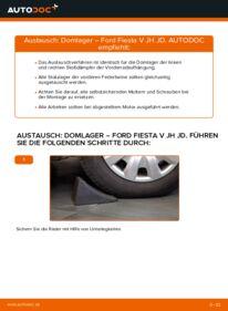 Wie der Wechsel durchführt wird: Domlager Ford Fiesta V jh jd 1.4 TDCi 1.4 16V 1.3 tauschen