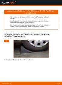 Wie der Wechsel durchführt wird: Radlager Ford Fiesta V jh jd 1.4 TDCi 1.4 16V 1.3 tauschen