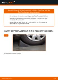 How to carry out replacement: Wheel Bearing on 1.4 TDCi Ford Fiesta V jh jd