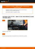Kaip pakeisti BMW X3 E83 dyzelis oro filtro - keitimo instrukcija