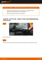 Hur byter man och justera Luftfilter BMW X3: pdf instruktioner