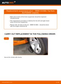 How to carry out replacement: Shock Absorber on 2.0 d BMW X3 E83