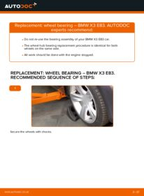 How to carry out replacement: Wheel Bearing on 2.0 d BMW X3 E83