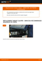 How to replace and adjust Brake caliper BMW 5 SERIES: pdf tutorial