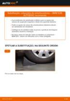 Como mudar cabeçotes do amortecedores da parte dianteira em BMW E39 - guia de substituição