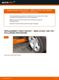 How to carry out replacement: Strut Mount on 2.0 d BMW X3 E83