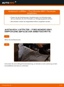 Wie der Wechsel durchführt wird: Luftfilter 2.0 16V Ford Mondeo bwy tauschen