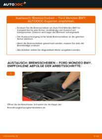 Wie der Wechsel durchführt wird: Bremsscheiben Ford Mondeo bwy 2.0 16V 2.0 TDCi 2.0 16V TDDi / TDCi tauschen