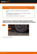 Como mudar tirante da barra estabilizadora da parte dianteira em Mercedes W168 - guia de substituição