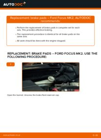 How to carry out replacement: Brake Pads on 1.6 TDCi Ford Focus mk2 Saloon