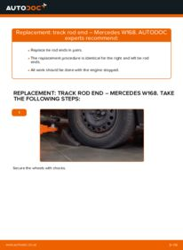 How to carry out replacement: Track Rod End on A 140 1.4 (168.031, 168.131) Mercedes W168