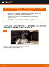 Wie der Wechsel durchführt wird: Bremsbacken A 140 1.4 (168.031, 168.131) Mercedes W168 tauschen