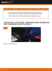 Wie der Wechsel durchführt wird: Luftfilter A 140 1.4 (168.031, 168.131) Mercedes W168 tauschen