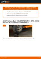 Como mudar óleo do motor e filtro em Opel Corsa S93 - guia de substituição
