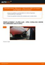 Comment changer : filtre à air sur Opel Corsa S93 - Guide de remplacement