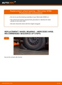 How to carry out replacement: Wheel Bearing on A 140 1.4 (168.031, 168.131) Mercedes W168