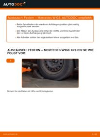Wie der Wechsel durchführt wird: Federn A 140 1.4 (168.031, 168.131) Mercedes W168 tauschen