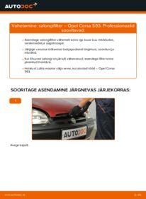 Kuidas välja vahetamist läbi viia: 1.0 i 12V (F08, F68, M68) Opel Corsa S93 Salongifilter