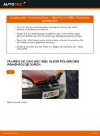 Wie der Wechsel durchführt wird: Innenraumfilter 1.0 i 12V (F08, F68, M68) Opel Corsa S93 tauschen