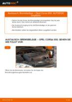 OPEL CORSA B (73_, 78_, 79_) Scheibenbremsbeläge: Online-Handbuch zum Selbstwechsel