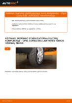 Kaip pakeisti Opel Corsa S93 skersinio stabilizatoriaus įvorių komplektas: priekis - keitimo instrukcija