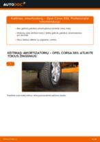 Kaip pakeisti Opel Corsa S93 amortizatorių: galas - keitimo instrukcija