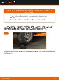 Wie der Wechsel durchführt wird: Kraftstofffilter 1.0 i 12V (F08, F68, M68) Opel Corsa B tauschen