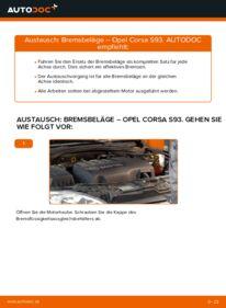 Wie der Wechsel durchführt wird: Bremsbeläge 1.0 i 12V (F08, F68, M68) Opel Corsa S93 tauschen