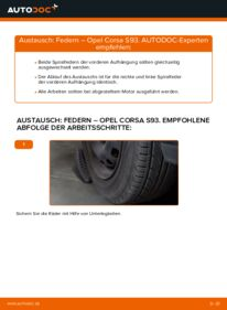 Wie der Wechsel durchführt wird: Federn 1.0 i 12V (F08, F68, M68) Opel Corsa S93 tauschen