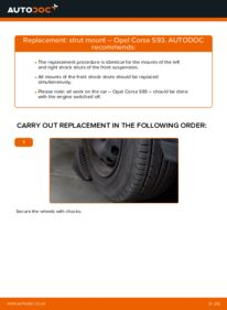 How to carry out replacement: Strut Mount on 1.0 i 12V (F08, F68, M68) Opel Corsa S93