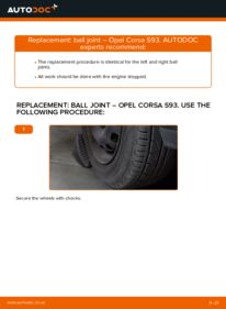 How to carry out replacement: Suspension Ball Joint on 1.0 i 12V (F08, F68, M68) Opel Corsa S93