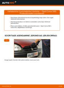 Kuidas välja vahetamist läbi viia: 1.0 i 12V (F08, F68, M68) Opel Corsa S93 Piduriklotside komplekt