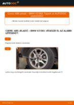 Cseréljünk Féknyereg Tartó BMW X3: felhasználói kézikönyv