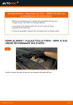Comment changer et régler Kit de plaquettes de frein BMW X3 : tutoriel pdf