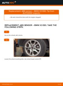 How to carry out replacement: ABS Sensor on 2.0 d BMW X3 E83