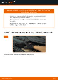 How to carry out replacement: Brake Pads on 2.0 d BMW X3 E83