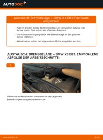 Wie der Wechsel durchführt wird: Bremsbeläge 2.0 d BMW X3 E83 tauschen