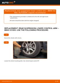 How to carry out replacement: Control Arm on 2.0 d BMW X3 E83