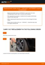 Changing Brake Drum VW GOLF: workshop manual