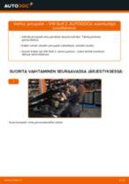 Kuinka vaihtaa jarrupalat eteen VW Golf 2-autoon – vaihto-ohje