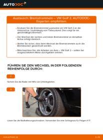 Wie der Wechsel durchführt wird: Bremstrommel 1.8 GTI VW GOLF II (19E, 1G1) tauschen