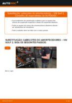 Como mudar cabeçotes do amortecedores da parte dianteira em VW Golf 2 - guia de substituição